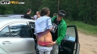 Hot russian chicks banging outdoors in forest casting Ally and Eniko
