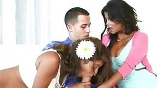 Busty milf threesome with teenage couple