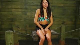 Hot babe Marina angel in wild and hard threesome bondage sex