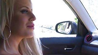 I am lucky there is a horny busty pornstar in my car