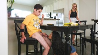19yo Maya Bijou sucks Juan's hard prick under the table