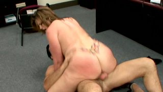 Fat and ugly Lisa Sparxxx getting nailed on office floor and banged from behind