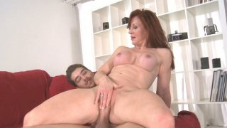 Redhead slut Catherine de Sade is fucked on red coach