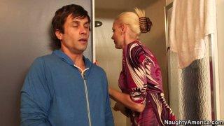 Horny blonde mom Darryl Hanah blows cock of her friend