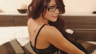 Sexiest Brunette Striping and body Dancing