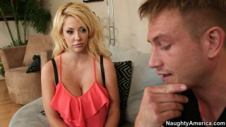 Neat blonde diva Courtney Taylor giving a head on the couch